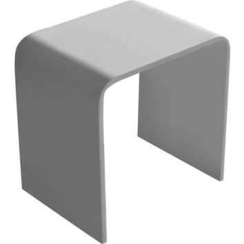 ID Backless Vanity Stool Bench, Solid Surface Seat Chair White Matte