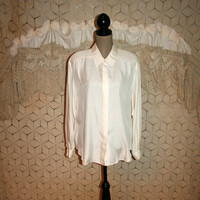 Creamy White Silk Blouse Long Sleeve Button Up Silk Top Oversized Shirt Silk Shirt Liz Claiborne Size 12 Size 14 Large XL Womens Clothing
