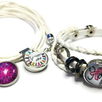 Cancer Sucks Breast Awareness Hope For Cure White Bracelet Necklace Set W/4 18MM - 20MM Snap Jewelry Charms