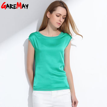 Summer women blouses 2017 new casual chiffon silk blouse slim sleeveless O-neck blusa feminina tops shirts solid 6 color  Y048