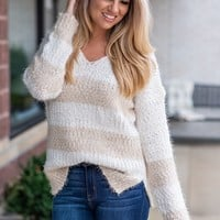 Never Been Cozier Two Tone Popcorn Sweater : Ivory/Taupe