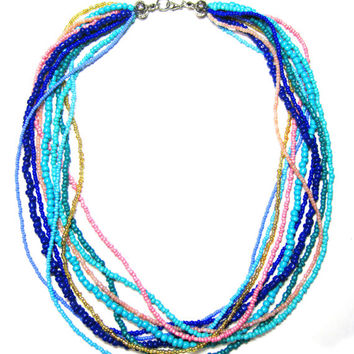 Multi Strand Seed Bead Necklace - Blue Twisted Necklace - Beaded Necklace