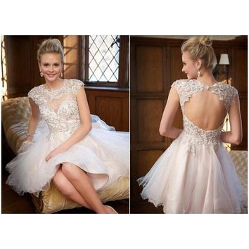 Cocktail Dresses Sexy Open Back Ball Gown Short  Woman Prom  Appliques  Luxury Gowns Graduation Homecoming Ruched robe de Dress