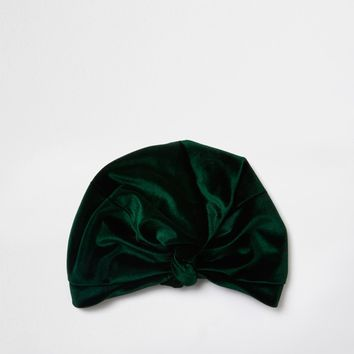 Green velvet knot front turban hat - Hair Accessories - Accessories - women