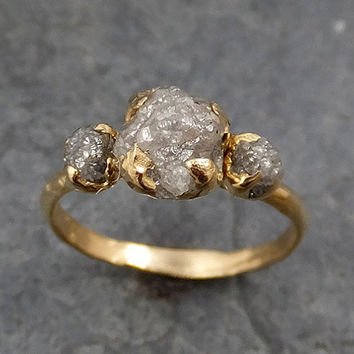 Raw Rough Diamond gold Engagement Multi stone Three  Ring Rough Gold Wedding Ring diamond Wedding Ring Rough Diamond Ring byAngeline 0161