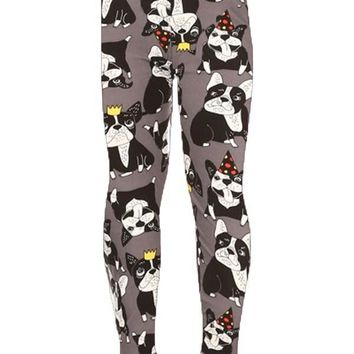Girls Boston Terrier Leggings Birthday Party Dogs Gray: S/L