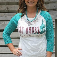 The House That Built Me Burnout Baseball Tee with Jade Lace Sleeves