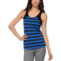 Zine Girls Princess Blue & Charcoal Stripe Tank Top