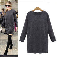 Autumn Winter Women Long Sleeve Solid One Piece Dress a12932