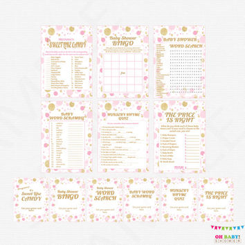 Pink and Gold Baby Shower Games Bundle, games pack, baby shower game pack, printable baby shower games girl sign INSTANT DOWNLOAD CB0003-pg