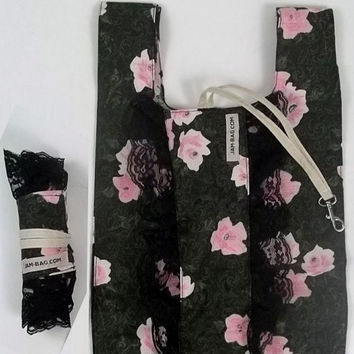 FOLDBAG // Eco Friendly  Lunch Bag - Spring Sakura Green Print with black lace ruffle ribbon | reusable shopping bag, reusable grocery bag