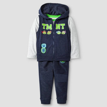 NEW Toddler Boys' TMNT 3-Piece Vest, T-Shirt & Sweatpant Set Size 3T