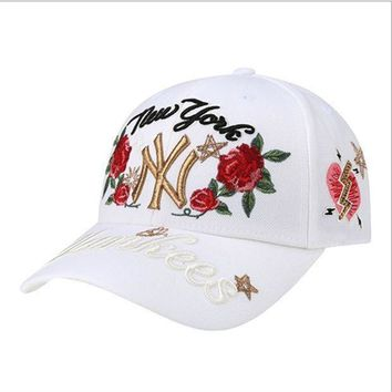 ICIKID4 NY'Hundreds Rose Embroidery Strap Cap Adjustable Golf Snapback Baseball Hat Cap Black