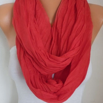 Red Cotton Infinity Scarf Spring Summer Scarf Soft Bridesmaid Gift Cowl Circle Loop Oversized Gift Ideas For Her Women Fashion Accessories