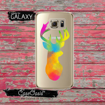 Deer Antlers Silhouette Watercolor Paint Smudge Art Colors Hunting Clear Galaxy S6 Case and Clear Galaxy S6 Edge Case Custom Samsung Case