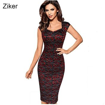 Ziker Brand Womens Sexy Elegant Summer Floral Flower Lace Cap Sleeve Slim Casual Party Fitted Sheath Bodycon Dress vestidos 4XL