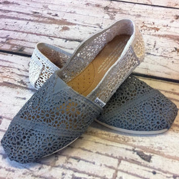 Dip Dye Crochet Ombre TOMS Shoes by metalnlace on Etsy