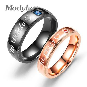 Cool Modyle Promise Couple Rings Trendy Her King & His Queen Custom Crytal Stone Crown Charm Stainless Steel Wedding Ring for WomenAT_93_12