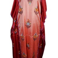 Mogul Womens Caftan Maxi Dresses Stylish Silk Kashmiri Embroidered Dual Shaded Kaftan (Pink-1): Amazon.ca: Clothing & Accessories
