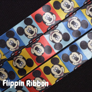 Mickey Mouse Color Blocks Ribbon, 3 Yards, 7/8 inch Satin