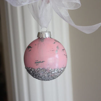 6 Shabby Chic Christmas Ornaments, Shabby Chic Christmas, Silver Ornaments, Pink Ornaments, Christmas Bulbs, Glass Bulbs, Gift, Distressed