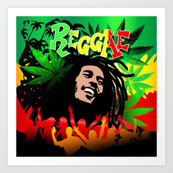 Reggae Rasta Colors Fun and Marijuana Art Print by Bluedarkat Lem