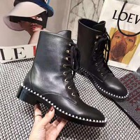Stuart Weitzman SW women Leather Black lace up heels high top Boots Fashion Casual Shoes Best Quality