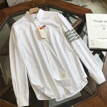 """""""Thom Browne""""Men All-match Fashion Buttons Commercial Lapel Solid Color Leisure Long Sleeve Shirt Tops"""