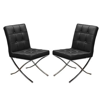 Set of (2) Cordoba Tufted Dining Chair w/ Stainless Steel Frame - Black