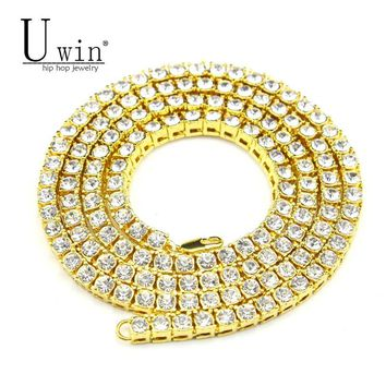UWIN Mens Hip hop Necklace Iced Out 1 Row Rhinestone Choker Bling Crystal Tennis Chain Necklace 18inch-32inch ping