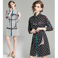 GUCCI Autumn Popular Women Retro Temperament Print Long Sleeve Shirt Lapel Dress A-Line Skirt