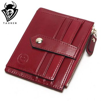 TAUREN 9 Colors First Layer Of Leather Card Wallet Women's Purse Card Holder Bag Oil Wax Layer Of Leather Small Wallet