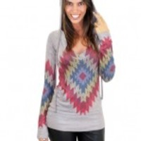 Taupe Aztec Multi Color Hoodie