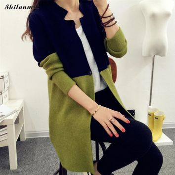 2018 Autumn Cardigan Contrast Color Women Clothing Soft Coat Knitted V-Neck Long Cardigan Female Sweater Jacket Army Green