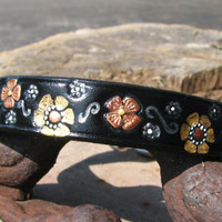 Pretty black leather dog collar with sparkly metallic flowers hand stamped and painted