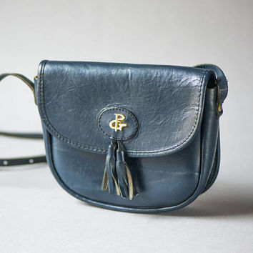Navy Blue Cross Body Bag Genuine Leather. Small Vintage Women's Bag with Tassels. Saddle Bag 70s. Tiny Bag Minimalist Sturdy leather