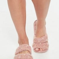 Missguided - Pink Borg Lined Pearl Detail Slipper