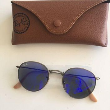Kalete RayBan Sunglasses, Mirrored Metal Round Frame, Bronze Copper, 167/68