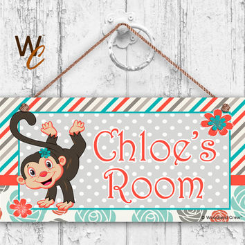 "Nursery Sign, Monkey Girls Room Sign, Personalized Sign, Kid's Name, Kids Door Sign, Baby Nursery Art, 5"" x 10"" Sign, Made To Order"