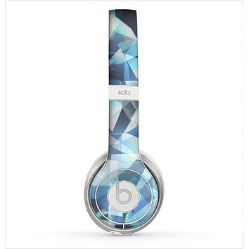 The Vector Abstract Shaped Blue Overlay V3 Skin for the Beats by Dre Solo 2 Headphones
