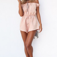 Pink Off Shoulder Hollow Out Back Romper B005788
