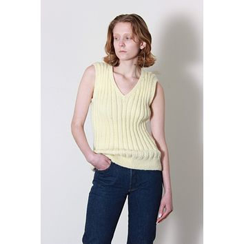 Thick Knit Ribbed Cream Sweater Vest / S