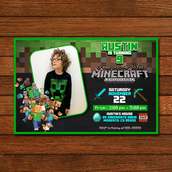 Minecraft Birthday Edition Photo Invitation