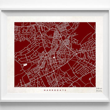 Harrogate Poster, England Poster, Harrogate Print, England Print, Office Decor, Posters, Street Map, Home Decor, Halloween Decor
