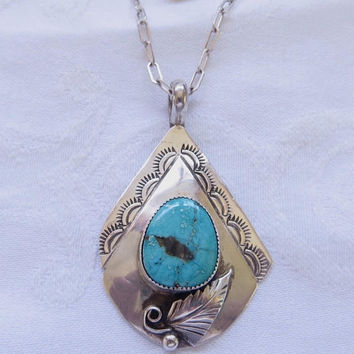 Navajo Sterling Turquoise Necklace, Artisan Signed Lucille Calladitto, Vintage Native American Jewelry