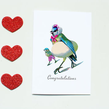 Congratulations card, new baby, vintage illustration, cute new baby card, bird and egg, cards for friends, uk cards, baby announcement card