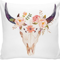 Bull Head Skull Watercolor Flowers