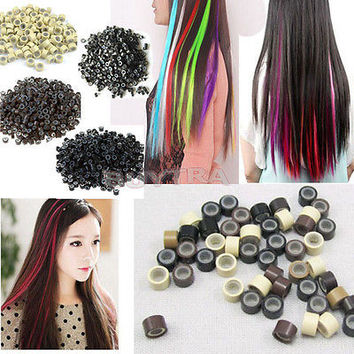 500 PCS Silicone Micro Links Rings Lined Beads for Hair Extensions  5 Color HUUS