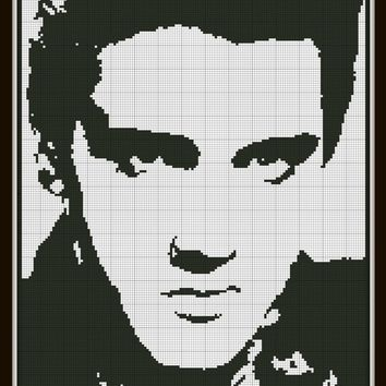 Cross Stitch Pattern Elvis Silhouette Handmade Black and White pdf