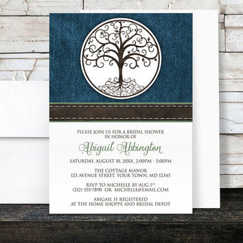 Bridal Shower Invitations - Rustic Tree of Life Denim